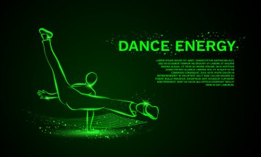 Cool street dancer. Break dance vector neon background with space for text.