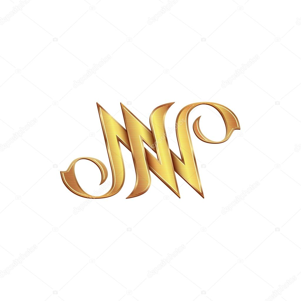 gold monogram double letter n vector golden initials logo design for wedding greeting card and