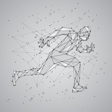 Polygon mesh silhouette of running man. Vector low poly black lines and dots structure. Polygonal sports background.