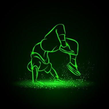 Breakdancer doing a back flip. The man is dancing hip hop style. Dancer vector neon illustration on a black background.