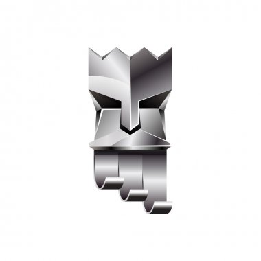 Silver head of king on white background. Abstract metallic polygonal logo of God with silver crown.