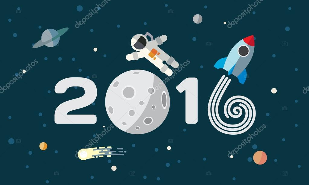Happy New Year. Flat space theme illustration for calendar.