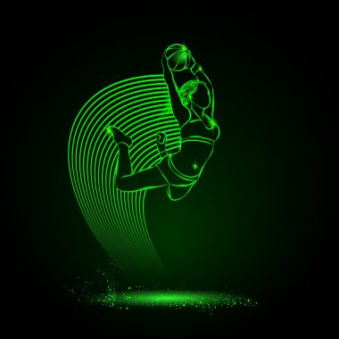 Basketball. The girl with the ball is jumping. neon style
