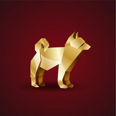 Vector golden origami dog. Laika clip art vector