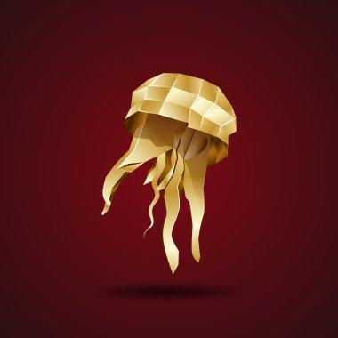 Golden origami jellyfish. 3d vector illustration clip art vector