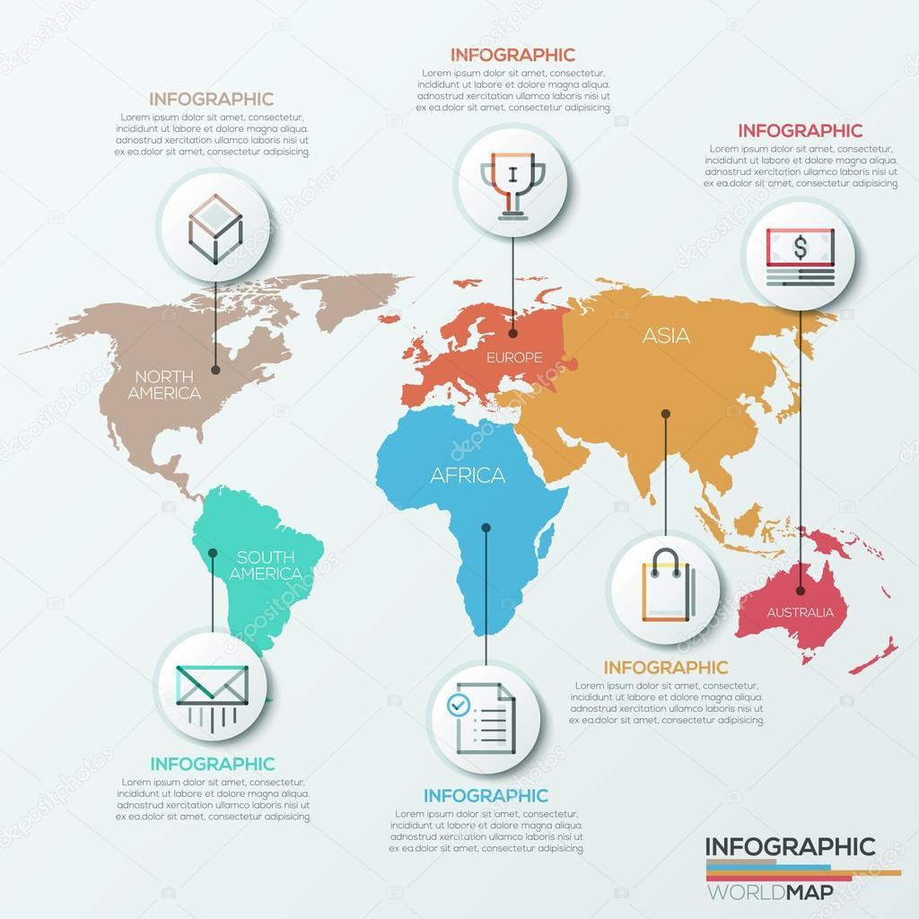 Vector mundo mapa ilustración y la infografía diseño plantilla ...