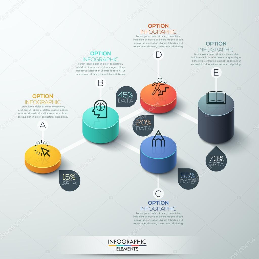 インフォ グラフィック テンプレート モダンなボックス シリンダー