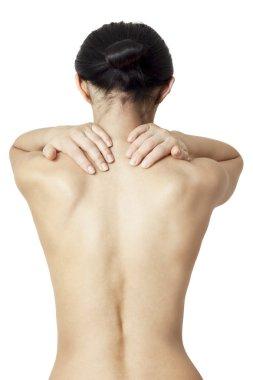 woman massaging her neck
