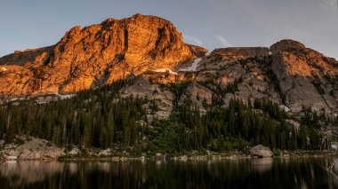 Copeland Mountain at Sunrise as seen from Pear Lake, RMNP, Colorado, summer time