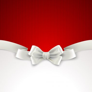 Red Christmas background with white silk bow