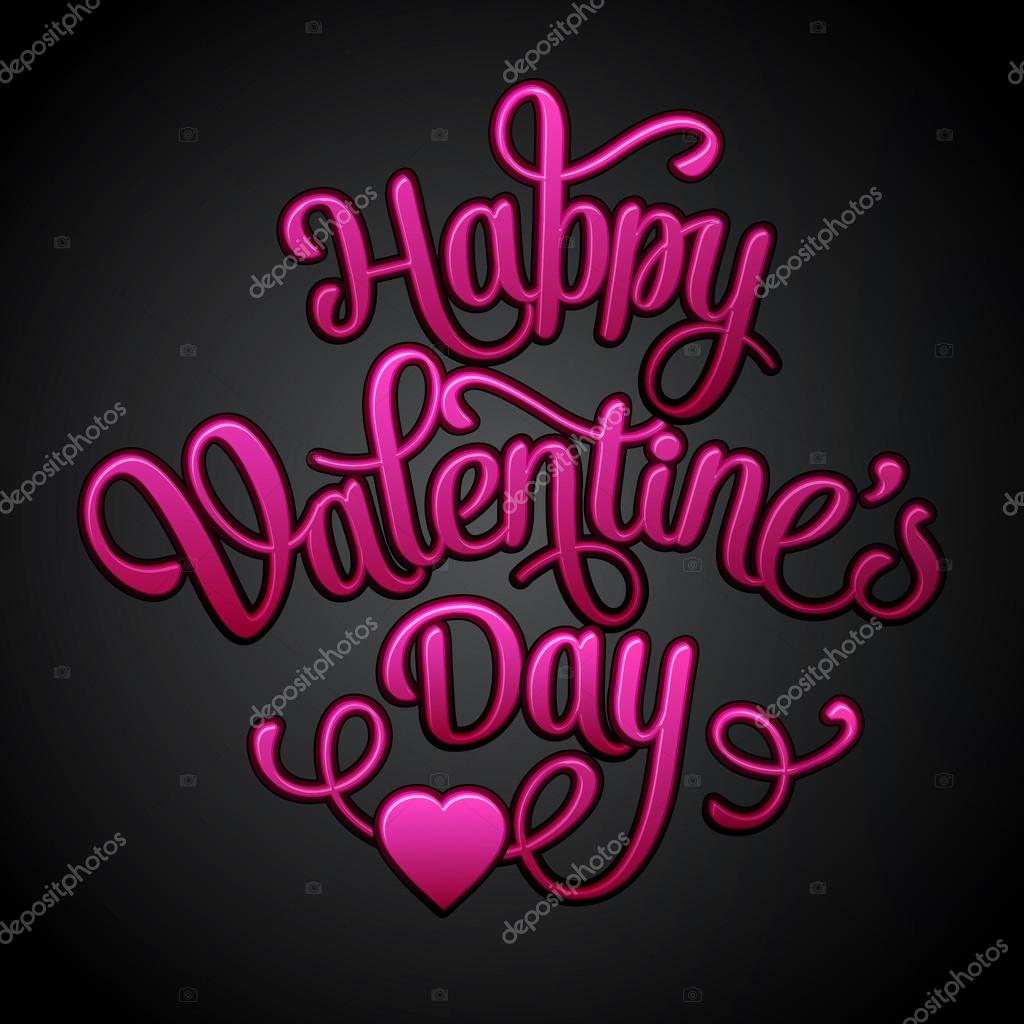 Happy Valentines Day Vintage Card With Lettering Stock Vector