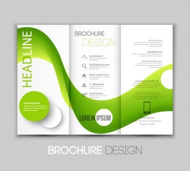 Vector template leaflet design with color lines