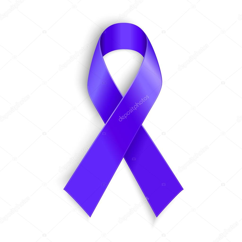 Purple Ribbon As Symbol Of Cancer Awareness Drug Overdose Domestic