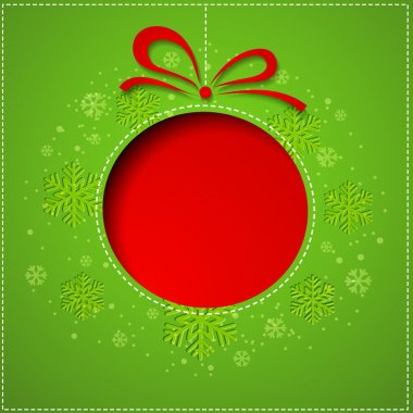 Abstract Christmas balls cutted from paper on green background.