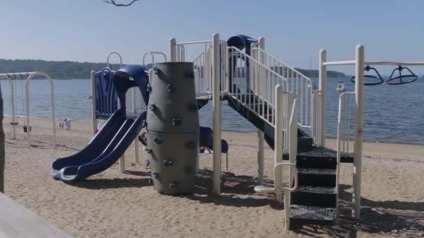 Empty playground on the beach
