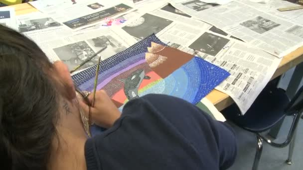Junior high students working in art class (7 of 9)