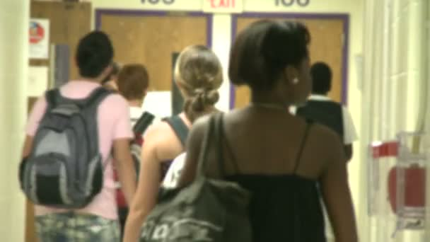 Junior high students walking down hallway  (1 of 8)