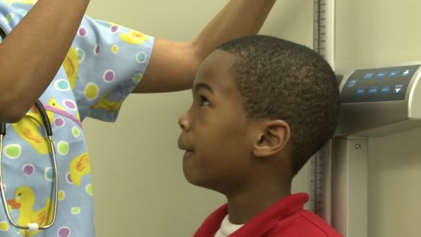 A Medical nurse or assistant weighs and measures a child