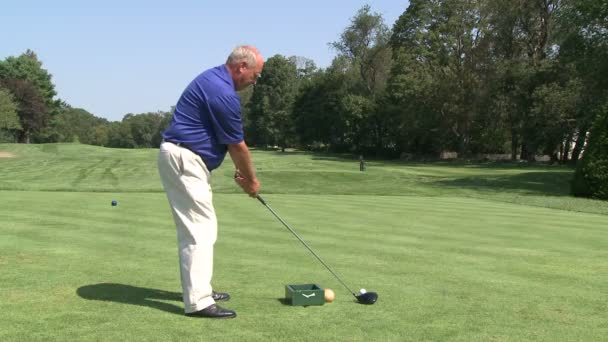 Golfer driving ball down fairway