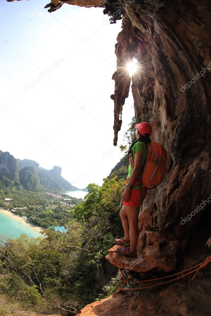woman over sunrise mountain