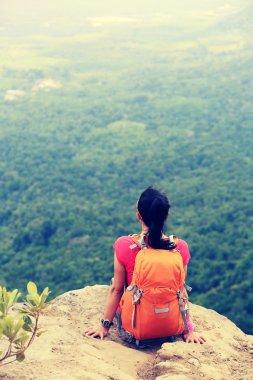 woman hiker enjoying mountain view