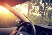 Fotografia Mani sul volante di auto