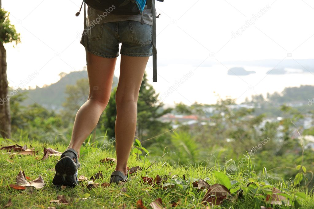 Female hiker feet hiking