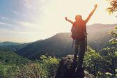 Jásající žena na vrchol hory