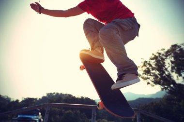 Skateboarder doing ollie