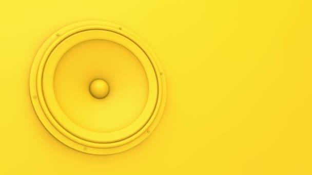 Élénk sárga hangszóró rezeg. 3D Renderelés