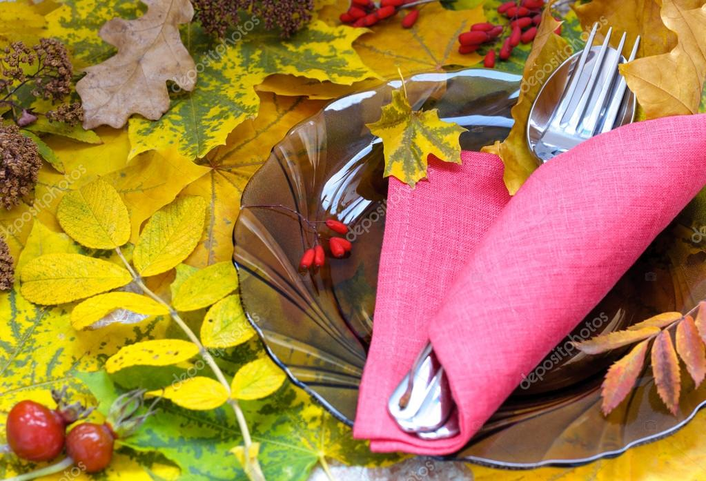 Fall Themed Table Setting Arrangement for Seasonal Party