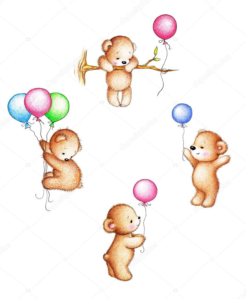 Teddy Bear With Balloons Drawing Teddy Bears With Balloons