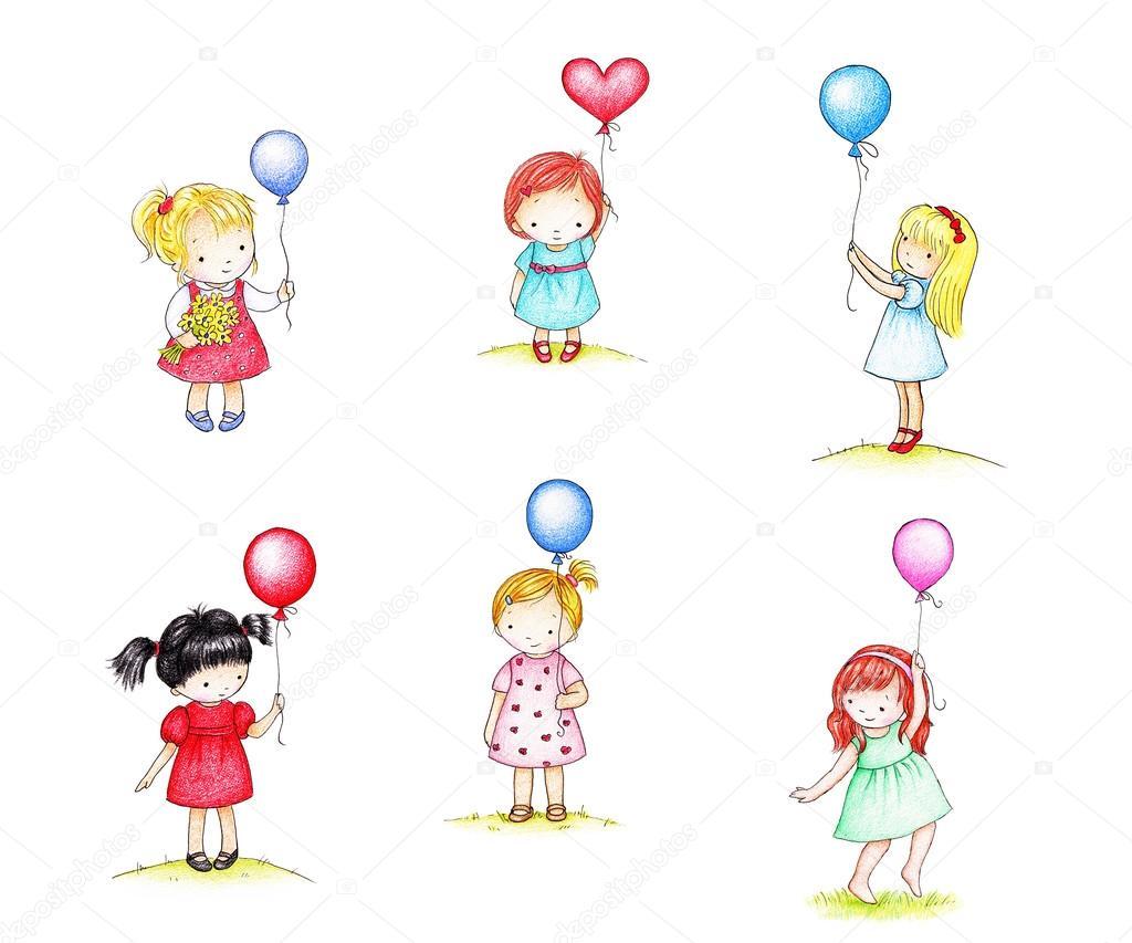 Poco girsl con palloncini foto stock abramskaya 85976054 - Immagine con palloncini ...