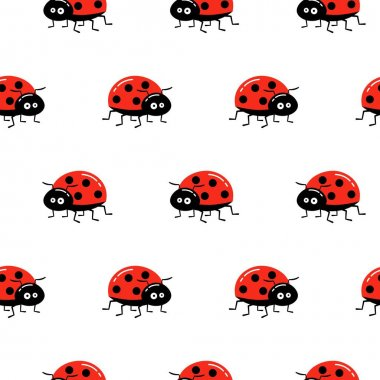 Seamless background with ladybug. Simple pattern. Vector cartoon illustration. icon