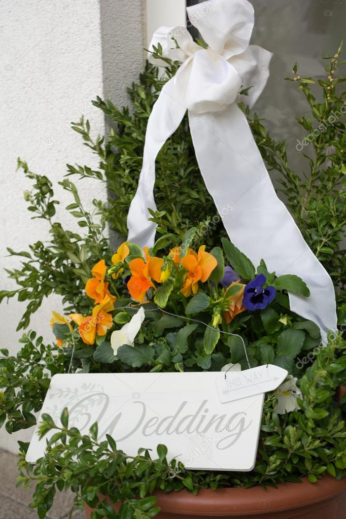 Wedding Decorations Outside The House Entrance Stock Photo