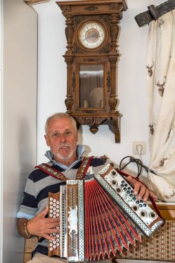 Musician plays with Styrian accordion in old farmhouse parlor - musical instrument
