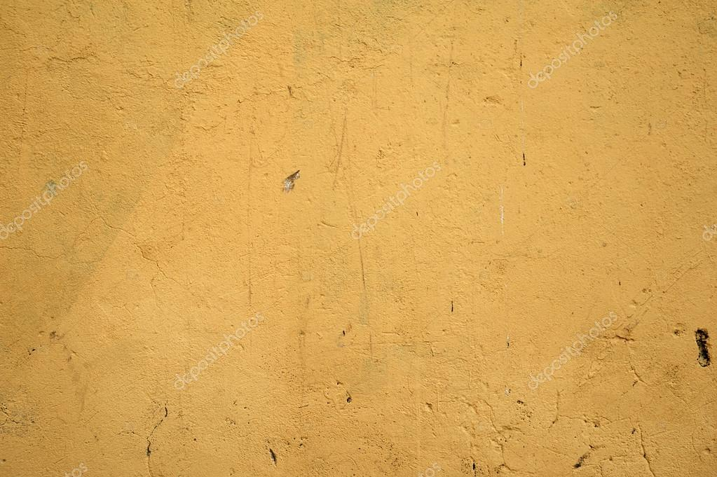 Texture of old rustic wall covered with yellow stucco — Stock Photo ...