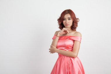 half portrait of a beautiful girl in a red dress isolated on ove