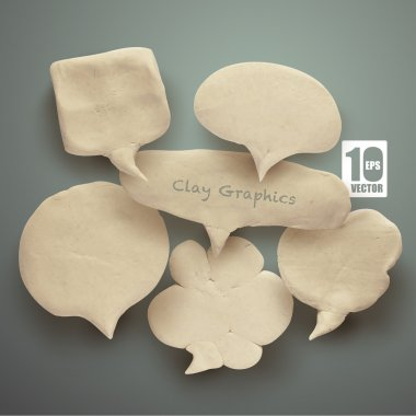 Vector Realistic Clay Speech Bubbles.