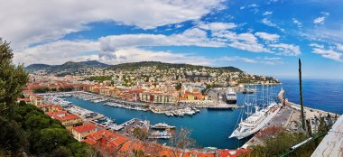 France, Nice, 2015: Port of Nice, top view, view from the castle