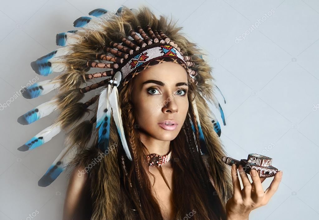 american indian girl smoking a pipe stock photo ishimaru 59197161