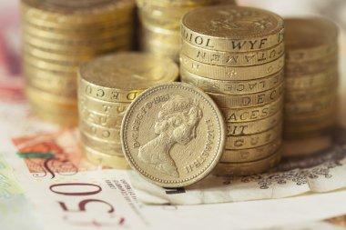 bunch of british pound coins