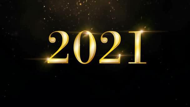 Animace zlatý text 2021 se zlatou stuhou pro design karet.