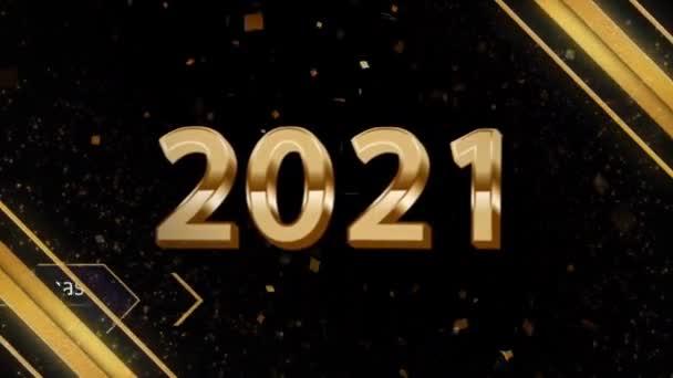 Animace zlatý text 2021 Veselé Vánoce a šťastný nový rok se zlatou stuhou pro design karet.