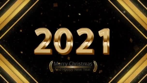 Animáció arany szöveg 2021 Boldog karácsonyt és boldog új évet arany szalag kártya design.