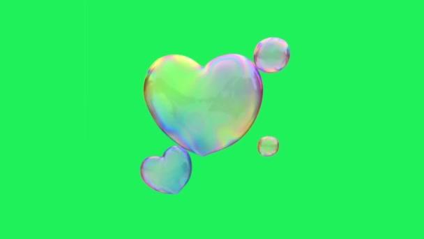 Animation bunte Blasen Schweben auf grünem Hintergrund.