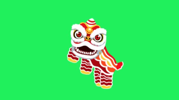 Animation Chinese style lion puppet On green background.