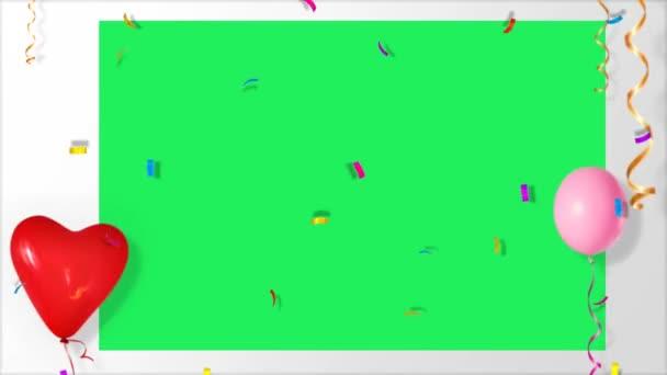 Animace barevné stuhy částice v bílém rámečku se zeleným prostorem.