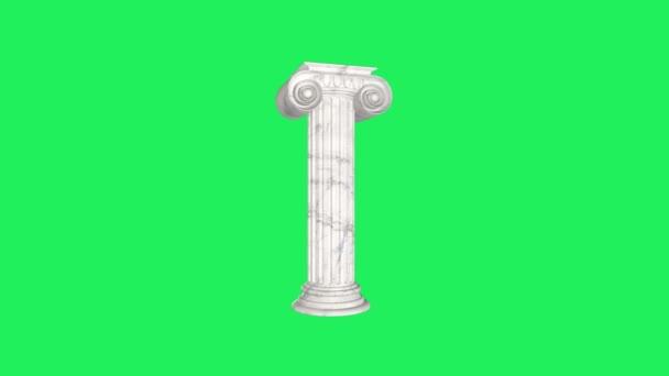 Realistische Steinsäule im römischen Stil mit grünem Hintergrund.