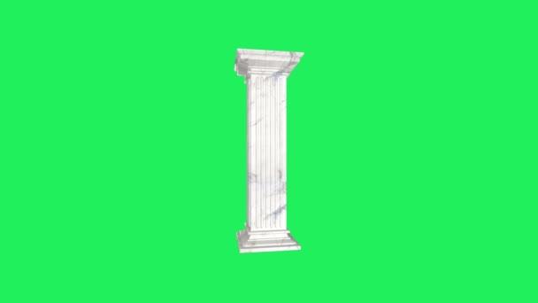 Realistický římský styl kamenný pilíř se zeleným pozadím.